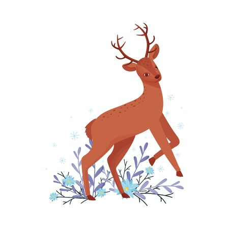 Cute Deer Animal Jumping and Skipping in Winter Forest Vector Illustration