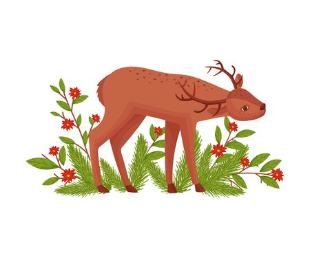 Brown Deer Near Floral Twigs. Hoofed Ruminant Mammal Standing with Its Head Bending Vector Illustration