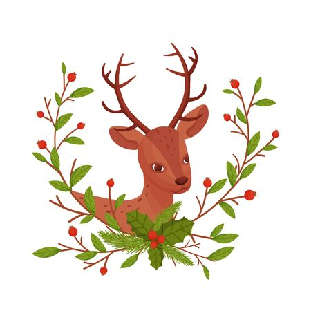 Brown Deer Near Floral Twigs. Hoofed Ruminant Mammal Sticking Out Its Head Through Winter Flora Vector Illustration