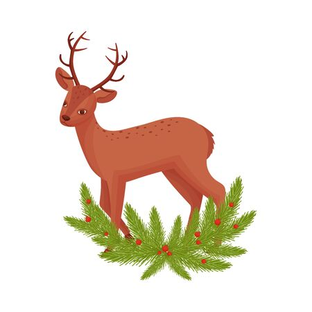 Brown Deer Near Fir Tree Twigs. Hoofed Ruminant Mammal Standing in Branches Vector Illustration. Cute Spotted Deer with Antlers