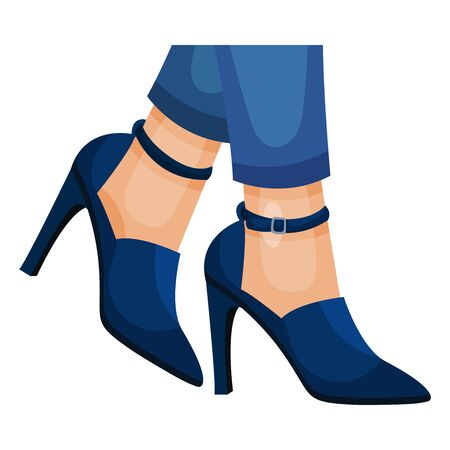 Female High Heeled Shoes with Legs Wearing Them Vector Illustration. Closeup View of Contemporary Footwear