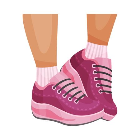 Closeup Bottom View of Legs Wearing Running Shoes with Lace Vector Illustrated Item. Jogging Footwear for Comfortable Trainings Concept