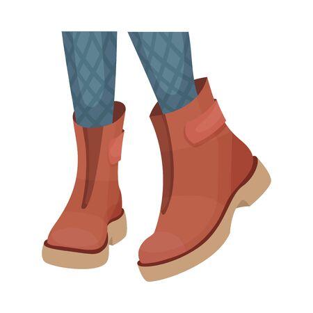 Niedrige Schuhe oder Stiefel mit dicker Sohle für Herbst- oder Frühlingssaison-Vektor-Illustration