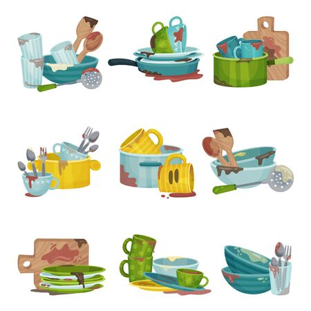 Dirty Kitchen Utensils and Crockery Vector Illustrations Set