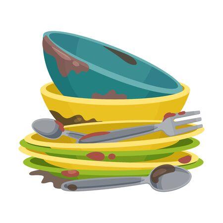 Mucchio di utensili da cucina sporchi e stoviglie Vector Illustration Vettoriali