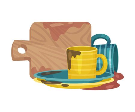 Stack of Dirty Dishes and Crockery Vector Illustration. Untidy Gathered Unwashed Kitchenware Concept Vector Illustration