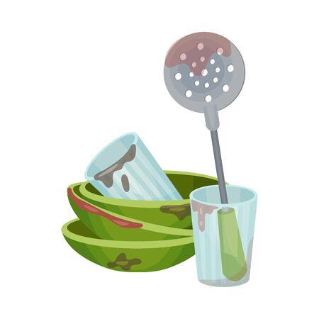 Mucchio di utensili da cucina sporchi e stoviglie Vector Illustration