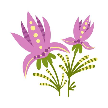 Stylized Floral Composition with Fancy Shaped Flowers Vector Illustration Illustration
