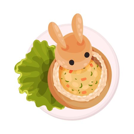 Food for Kids Arranged in Shape of Hare Top View Vector Illustration