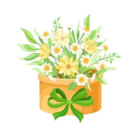Floral Arrangement with Field Flowers and Twigs in Box Vector Illustration Vektorové ilustrace