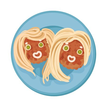 Food for Kids Arranged in Shape of Funny Hairy Muzzle Top View Vector Illustration. Idea of Dinner Layout for Boosting Kids Appetite Vectores