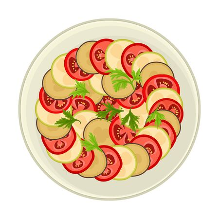 Ratatouille Dish Served on Plate Top View Vector Illustration Illustration