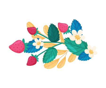 Strawberry Branch with Flowers and Berries Vector Composition