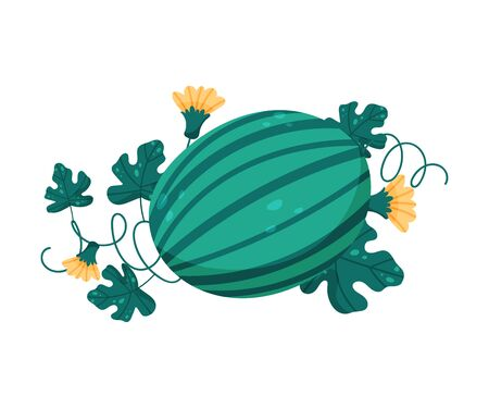 Ripe Watermelon with Flowers and Leaves Behind Vector Composition