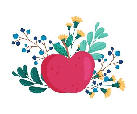 Apple with Flowers and Leaves Behind Vector Composition. Creative Floral Arrangements with Juicy Garden Fruit.