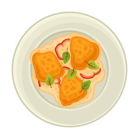 Omelette with Bread Slices and Vegetables Served on Plate Top View Vector Illustration. Traditional French Breakfast for Restaurant Menu