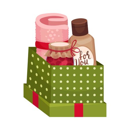 Carton Gift Box with Rolled Mat and Jar of Jam Vector Illustration Ilustración de vector