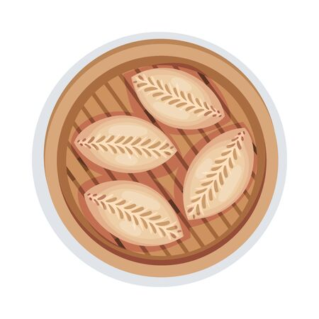 Patty Cakes Served on Wooden Plate Vector Illustration