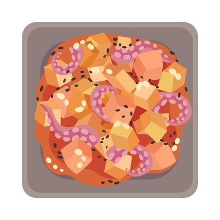 Korean Seafood Dish Layout Top View Vector Illustration Illustration