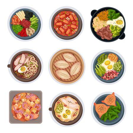 Set di illustrazioni vettoriali vista dall'alto di layout di cibo coreano