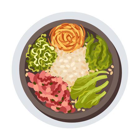 Korean Bibimbap Dish Layout Top View Vector Illustration