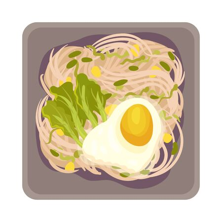 Scrambled Egg with Noodles Layout Top View Vector Illustration. Traditional Korean Cuisine Concept