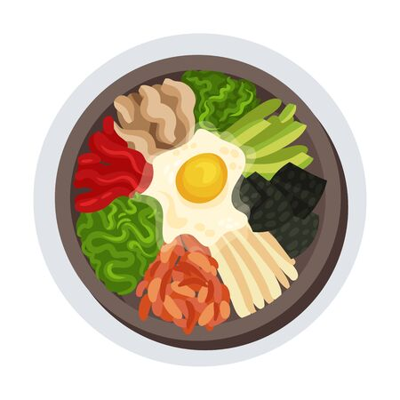 Korean Spicy Food Layout Top View Vector Illustration