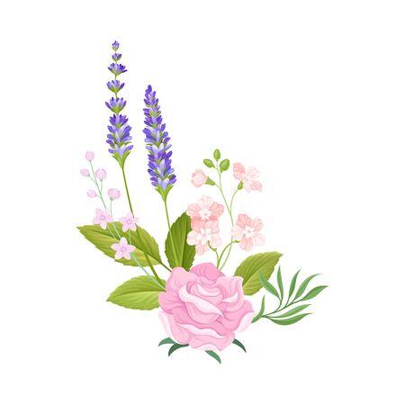 Floral Composition of Tender Rose Bud and Lavender Twigs Vector Illustration. Botanical Arrangement for Border Decoration Concept 矢量图片