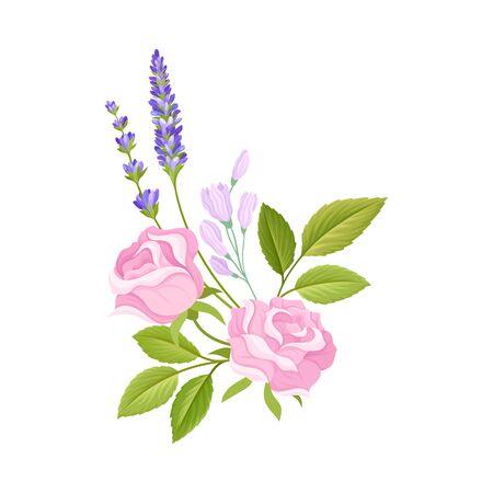Rosenknospe und Lavendelzweige in zarter Zusammensetzungs-Vektor-Illustration angeordnet. Botanisches Arrangement für Bordürendekorationskonzept