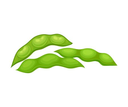 Open and Closed Green Soybean Pods Vector Items