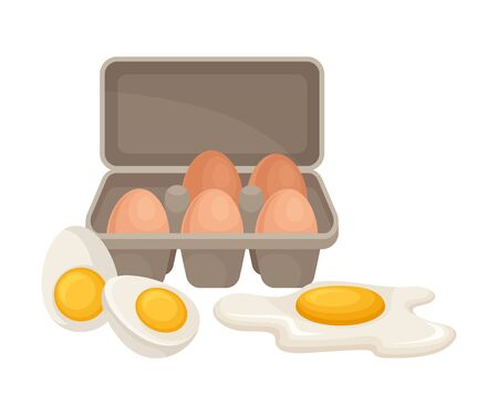 Raw Eggs Packed in Carton with Boiled and Scrambled Egg Near it Isolated on White Background Vector Composition