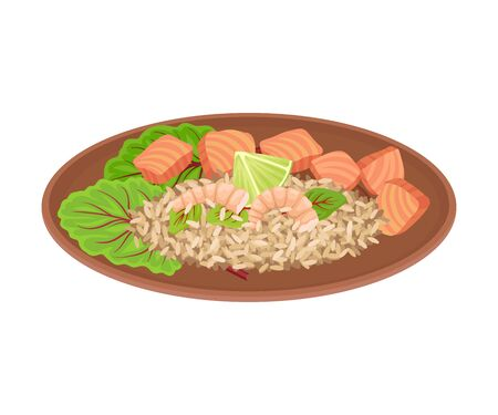 Appetizing Thai Food of Rice with Salmon Slabs and Greenery Served on Ceramic Plate Side View Vector Illustration