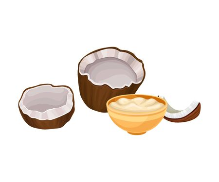Coconut Cracked Fruit with Butter Poured in Deep Bowl Vector Composition. Organic Fatty Food for Good Health Maintenance