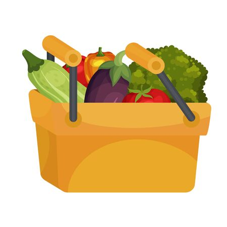 Vegetables Packed in Plastic Basket Isolated on White Background Vector Illustration. Autumn Harvesting in Process Concept Illustration
