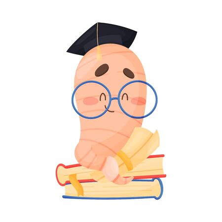 Bookworm Character Sitting on Pile of Books Vector Illustration. Worm Wearing Glasses and Reading Book