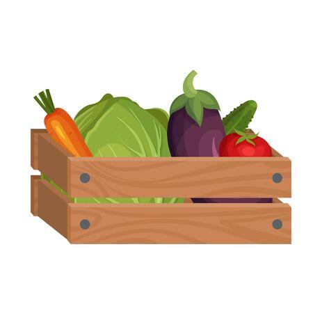 Boîte en bois avec des légumes frais isolé sur fond blanc Illustration vectorielle. Conteneur avec des aliments du jardin