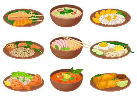 Appetizing Thai Food Served on Ceramic Plates Side View Vector Illustration. Traditional Asian Dishes and Main Courses Concept