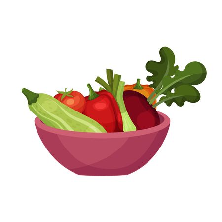 Vegetables Rested in Bowl Isolated on White Background Vector Illustration