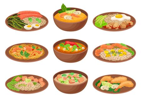 Appetizing Thai Food Served on Ceramic Plates Side View Vector Illustration