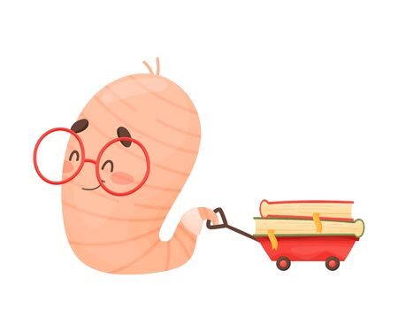 Smiling Bookworm Crawling Carrying Book on Small Trolley Vector Illustration