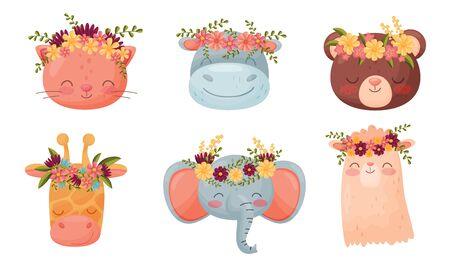 Animal Muzzles and Heads with Flower Wreath on Top Vector Set