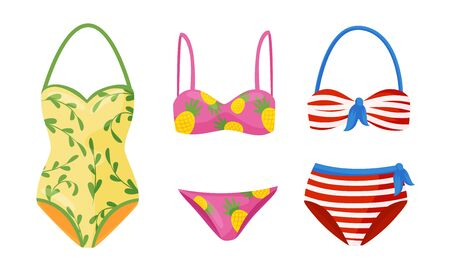 Female Colorful Swimsuits Isolated on White Background Vector Set. Fashion Tankini and Monokini Collection