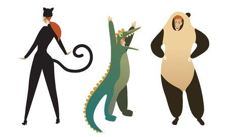 People Characters Wearing Animal Costumes Vector Illustrations Set