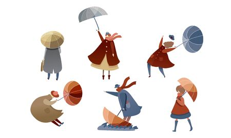 People Characters Walking in Windy Rainy Day with Umbrellas and Trying to Fight with Strong Wind Vector Illustrations Set