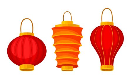 Red Chinese Lanterns of Circular and Cylindrical Shape Vector Set