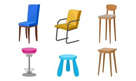 Wooden Chairs and Bar Stools of Different Color Vector Set