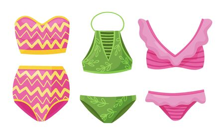 Female Colorful Swimsuits Isolated on White Background Vector Set. Fashion Tankini Collection 向量圖像