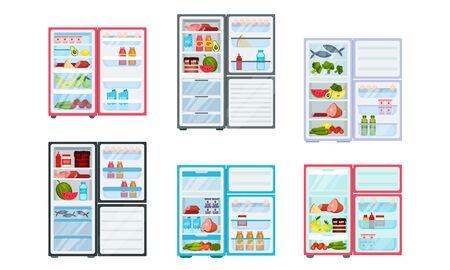 Open Refrigerator with Fresh Food Inside Vector Set Stock Illustratie