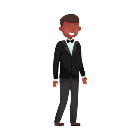 Young Smiling Man Wearing Evening Wear at Red Carpet Event Vector Illustration