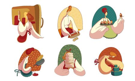 Woman Wearing Apron Baking Sweet Pastry Vector Illustrations Set Ilustração